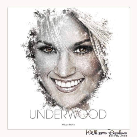 Carrie Underwood Ink Smudge Style Art Print - Wrapped Canvas Art Print / 24x24 inch