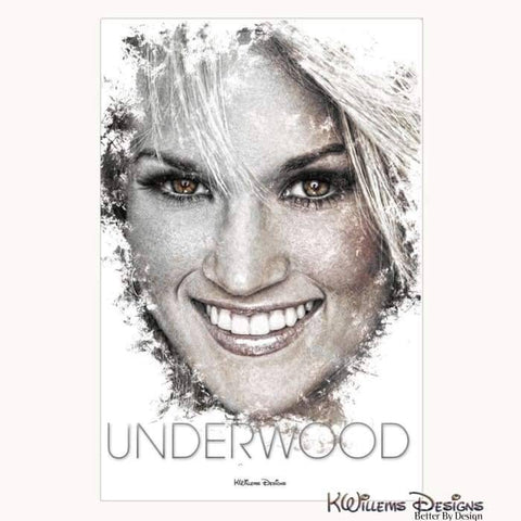Carrie Underwood Ink Smudge Style Art Print - Wrapped Canvas Art Print / 24x36 inch