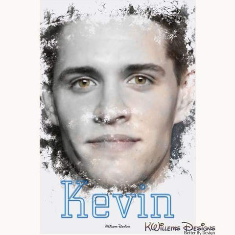 Image of Casey Cott as Kevin Ink Smudge Style Art Print - Acrylic Art Print / 24x36 inch
