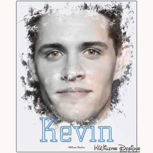 Casey Cott as Kevin Ink Smudge Style Art Print - Metal Art Print / 16x20 inch