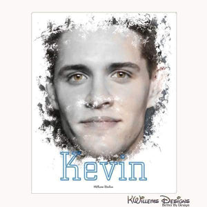 Casey Cott as Kevin Ink Smudge Style Art Print - Wrapped Canvas Art Print / 16x20 inch