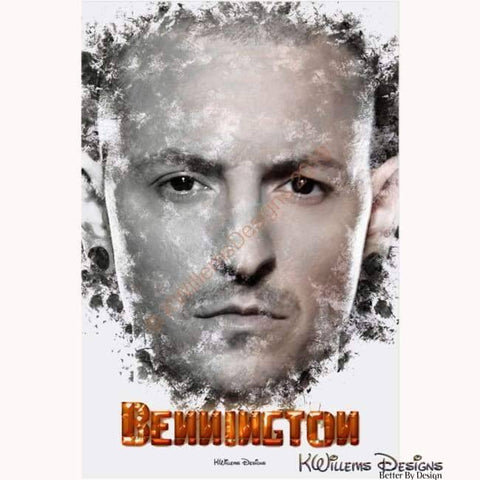 Image of Chester Bennington Ink Smudge Style Art Print - Acrylic Art Print / 24x36 inch