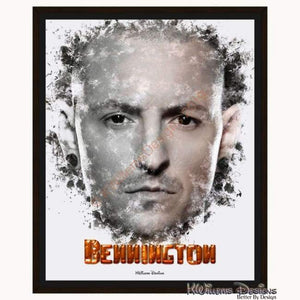 Chester Bennington Ink Smudge Style Art Print - Framed Canvas Art Print / 16x20 inch