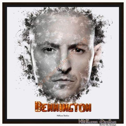 Image of Chester Bennington Ink Smudge Style Art Print - Framed Canvas Art Print / 24x24 inch
