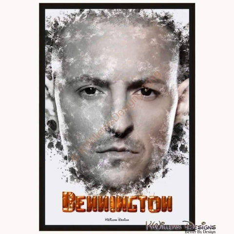 Image of Chester Bennington Ink Smudge Style Art Print - Framed Canvas Art Print / 24x36 inch