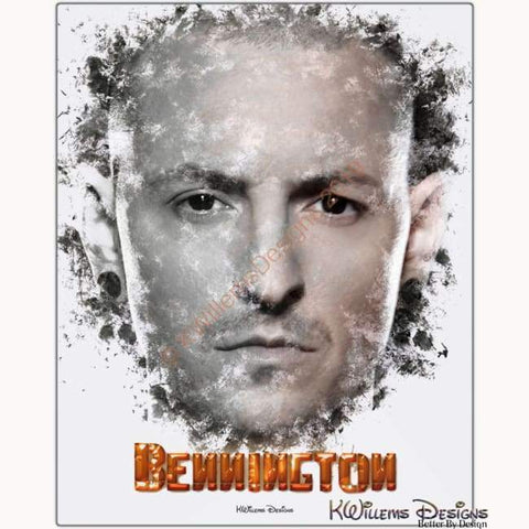 Image of Chester Bennington Ink Smudge Style Art Print - Metal Art Print / 16x20 inch