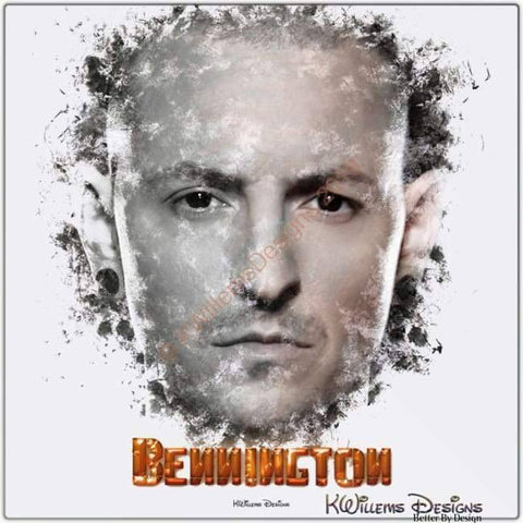 Image of Chester Bennington Ink Smudge Style Art Print - Metal Art Print / 24x24 inch