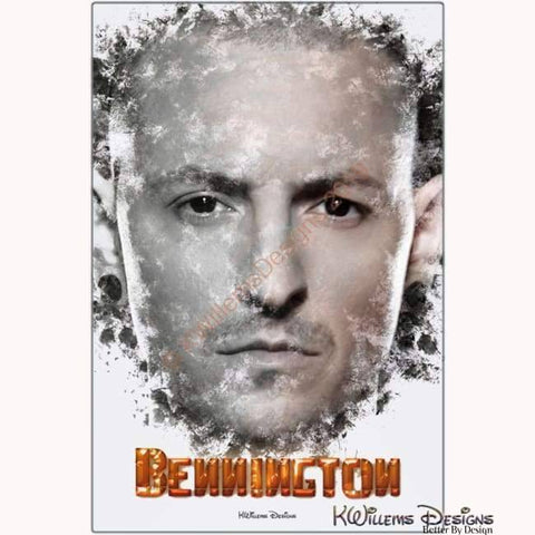 Image of Chester Bennington Ink Smudge Style Art Print - Metal Art Print / 24x36 inch