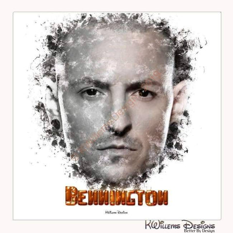 Image of Chester Bennington Ink Smudge Style Art Print - Wrapped Canvas Art Print / 24x24 inch