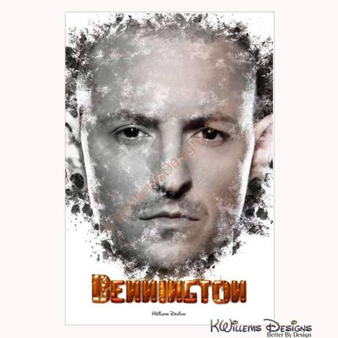Image of Chester Bennington Ink Smudge Style Art Print - Wrapped Canvas Art Print / 24x36 inch