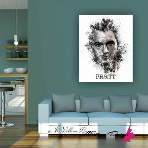 Chris Pratt Ink Smudge Style Art Print