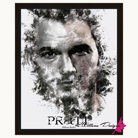 Image of Chris Pratt Ink Smudge Style Art Print - Framed Canvas Art Print / 16x20 inch