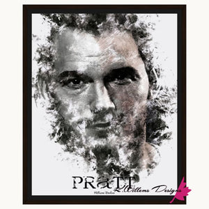 Chris Pratt Ink Smudge Style Art Print - Framed Canvas Art Print / 16x20 inch