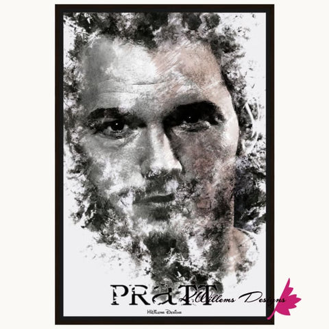Image of Chris Pratt Ink Smudge Style Art Print - Framed Canvas Art Print / 24x36 inch