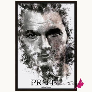 Chris Pratt Ink Smudge Style Art Print - Framed Canvas Art Print / 24x36 inch