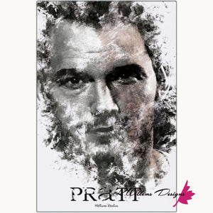 Chris Pratt Ink Smudge Style Art Print - Metal Art Print / 24x36 inch