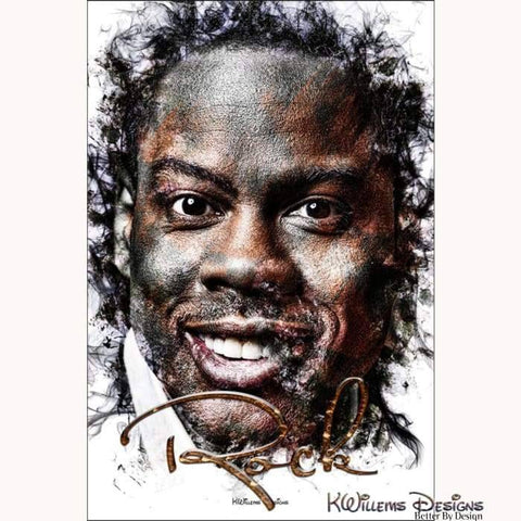 Chris Rock Ink Smudge Style Art Print