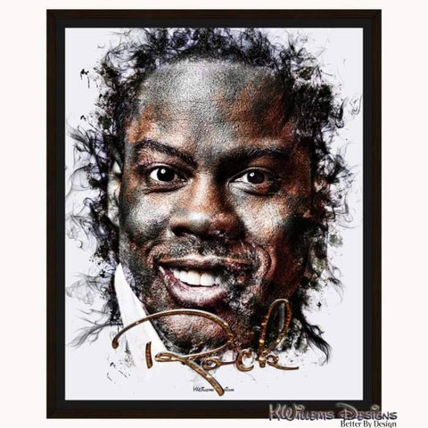 Image of Chris Rock Ink Smudge Style Art Print - Framed Canvas Art Print / 16x20 inch