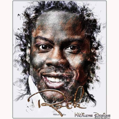 Image of Chris Rock Ink Smudge Style Art Print - Metal Art Print / 16x20 inch