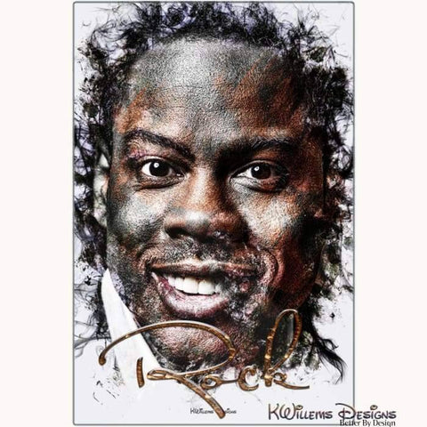 Chris Rock Ink Smudge Style Art Print - Metal Art Print / 24x36 inch