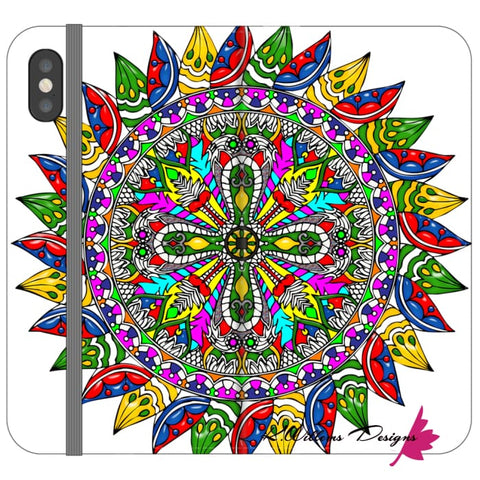 Image of Circle Of Life Mandala Phone Cases - iPhone X / Premium Folio Wallet Satin Case