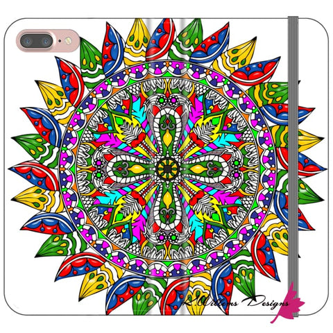 Image of Circle Of Life Mandala Phone Cases - iPhone 7 Plus / Premium Folio Wallet Satin Case