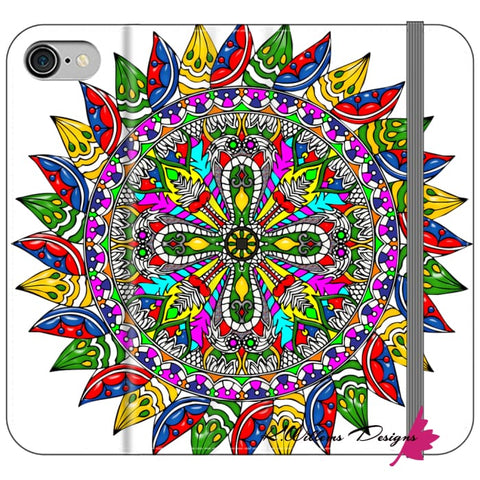 Image of Circle Of Life Mandala Phone Cases - iPhone 8 / Premium Folio Wallet Satin Case