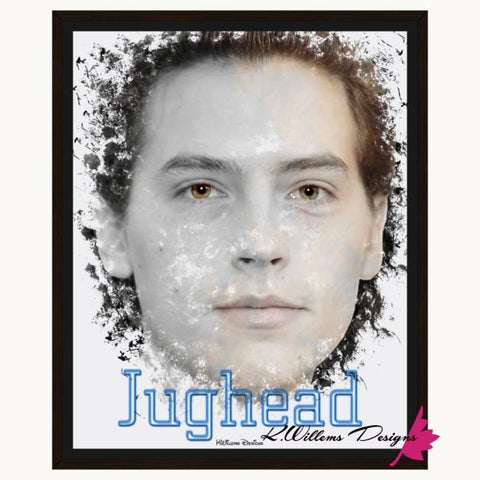 Image of Cole Sprouse as Jughead Ink Smudge Style Art Print - Framed Canvas Art Print / 16x20 inch
