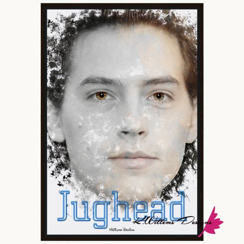 Image of Cole Sprouse as Jughead Ink Smudge Style Art Print - Framed Canvas Art Print / 24x36 inch