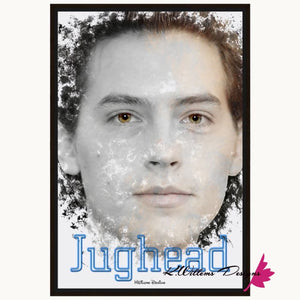 Cole Sprouse as Jughead Ink Smudge Style Art Print - Framed Canvas Art Print / 24x36 inch