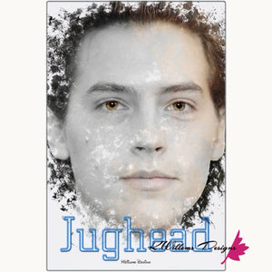Cole Sprouse as Jughead Ink Smudge Style Art Print - Metal Art Print / 24x36 inch
