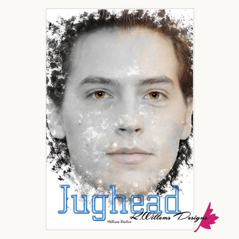 Image of Cole Sprouse as Jughead Ink Smudge Style Art Print - Wrapped Canvas Art Print / 24x36 inch