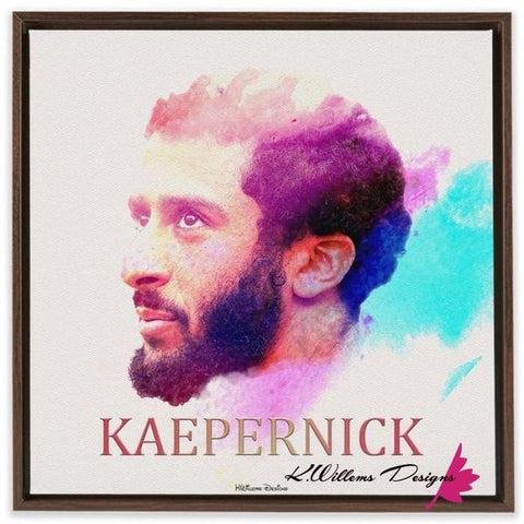 Image of Colin Kaepernick Water Colour Style Art Print - Framed Canvas Art Print / 24x24 inch