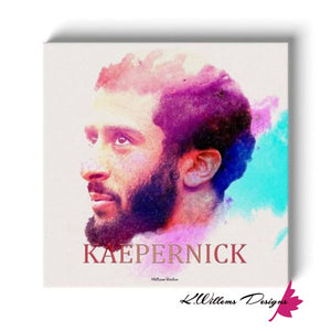 Colin Kaepernick Water Colour Style Art Print - Wrapped Canvas Art Print / 24x24 inch