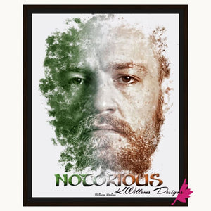 Conor McGregor Ink Smudge Style Art Print - Framed Canvas Art Print / 16x20 inch