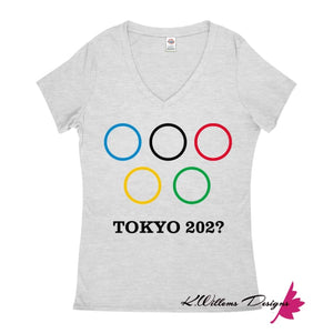 Covid-19 Tokyo 2020 Ladies V-Neck T-Shirts - Athletic Heather / Small (S)