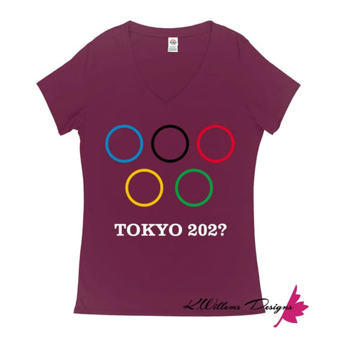 Covid-19 Tokyo 2020 Ladies V-Neck T-Shirts - Berry / Small (S)