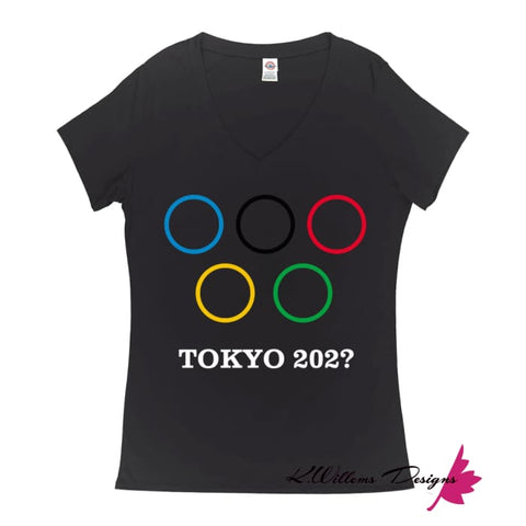 Image of Covid-19 Tokyo 2020 Ladies V-Neck T-Shirts - Black / Small (S)