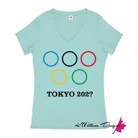 Image of Covid-19 Tokyo 2020 Ladies V-Neck T-Shirts - Celadon / Small (S)