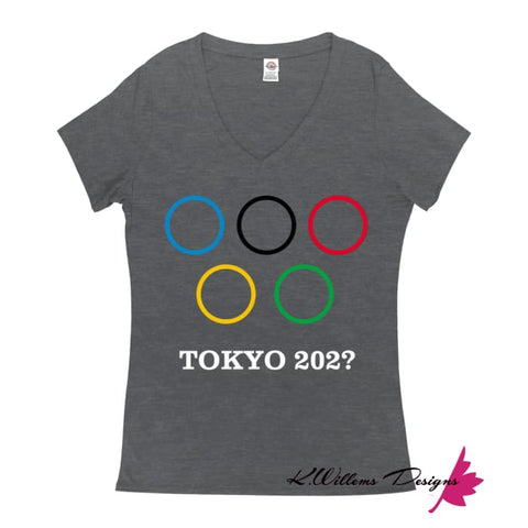 Image of Covid-19 Tokyo 2020 Ladies V-Neck T-Shirts - Charcoal Heather / Small (S)