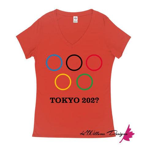 Image of Covid-19 Tokyo 2020 Ladies V-Neck T-Shirts - Deep Coral / Small (S)