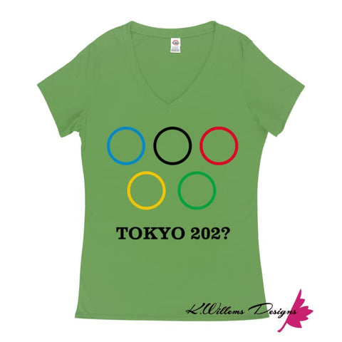 Image of Covid-19 Tokyo 2020 Ladies V-Neck T-Shirts - Grass Green / Small (S)