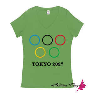 Covid-19 Tokyo 2020 Ladies V-Neck T-Shirts - Grass Green / Small (S)