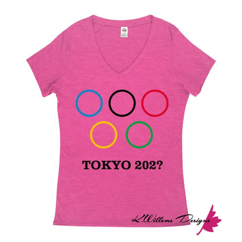 Covid-19 Tokyo 2020 Ladies V-Neck T-Shirts - Heliconia Heather / Small (S)