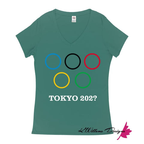 Image of Covid-19 Tokyo 2020 Ladies V-Neck T-Shirts - Jade / Small (S)