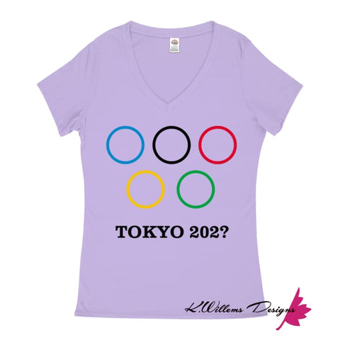 Image of Covid-19 Tokyo 2020 Ladies V-Neck T-Shirts - Lavender / Small (S)