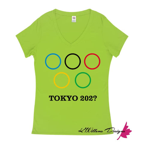 Image of Covid-19 Tokyo 2020 Ladies V-Neck T-Shirts - Lime / Small (S)