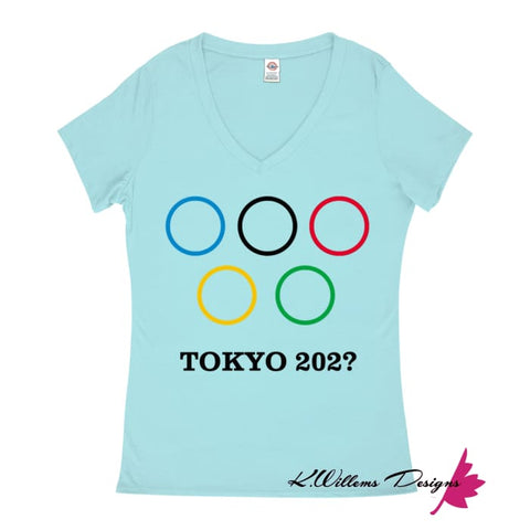 Image of Covid-19 Tokyo 2020 Ladies V-Neck T-Shirts - Pool / Small (S)