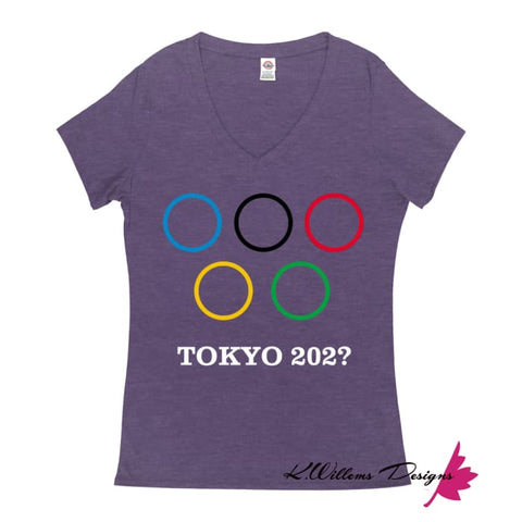 Image of Covid-19 Tokyo 2020 Ladies V-Neck T-Shirts - Purple Heather / Small (S)