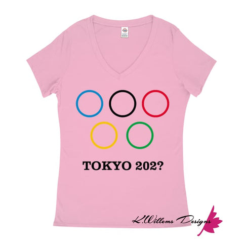 Covid-19 Tokyo 2020 Ladies V-Neck T-Shirts - Soft Pink / Small (S)